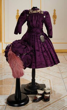 French Purple Silk Dress and Bonnet with Matching Original Shoes for Bebe Jumeau,Size 7, circa 1890