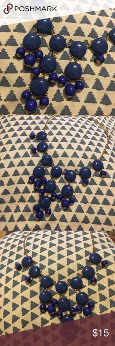 Blue J Crew Bubble Necklace Great condition. J Crew bible necklace. Blue and gold hardware J. Crew Jewelry