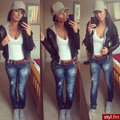Love the brown belt white tank and distressed blue jean look sporty n sexy wit the ball cap too!