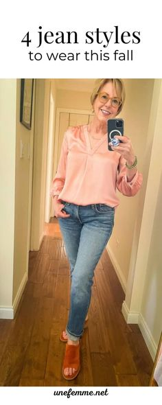 I love jeans, and I've collected quite a few pairs. As I'm detoxing my wardrobe, I culled out many pairs. Here are 4 styles I'm keeping in my wardrobe to wear this fall. Preppy Fall Fashion, Fall Fashion Outfits, Denim Fashion, Stylish Outfits, Autumn Fashion, Modest Fashion, Live In Jeans, Chambray Top, Over 50 Womens Fashion