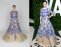 Lily Collins in Monique Lhuillier at 2012 Vanity Fair Party. Really unique and striking gown...I love it!