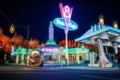 Fill your tank with classic American comfort food at Flo's V8 Café in Cars Land, part of Disney California Adventure Park at the Disneyland Resort