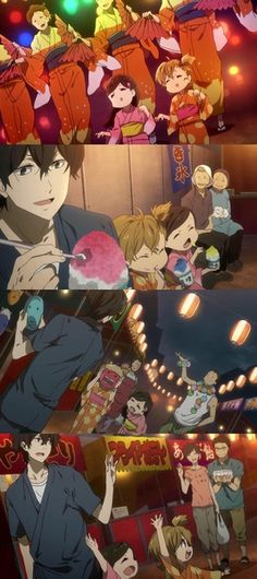 e10: Seishu attends the local festival with the group, where he enjoys himself greatly