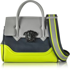 Versace Small Palazzo Empire Color Block Leather Tote Bag (9.100 RON) ❤ liked on Polyvore featuring bags, handbags, tote bags, citron, leather tote bags, handbags totes, leather tote, leather tote purse and colorblock tote