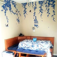 Pop Decors Elegant Leaves, Bird Cage with Flying Birds Wall Decal