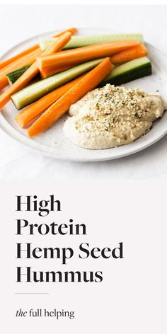 This high protein hummus is made with hemp seeds as well as traditional tahini! It's a healthy vegan snack that's also great in sandwiches and wraps. #plantbased #vegan #glutenfree Healthy Vegan Snacks, Vegan Protein, High Protein, Vegan Vegetarian, Vegan Recipes, Hummus Recipe, Hemp Seeds, Vegan Dishes, Tahini