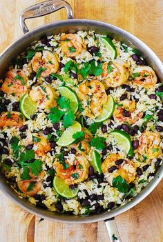 Cilantro-Lime Black Bean Shrimp and Rice I used quinoa instead of rice and spicy black beans and added corn and avocado! Delicious!