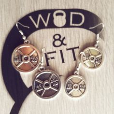 Earrings Weight Plate Workout.Pendientes Fitness Pesas Fitness Kettlebell,Gym,Bodybuilding,Weight Lifting Crossfit,Earring Sport,Gym jewelry de WodAndFit en Etsy