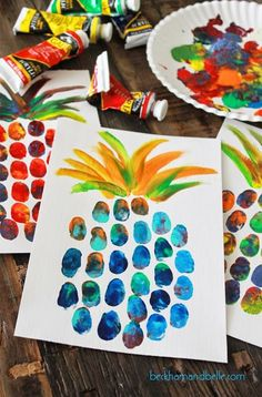Pineapple thumbprint art Art Room Crafts for kids, Summer diy summer crafts for kids - Kids Crafts Diy Home Crafts, Creative Crafts, Fun Crafts, Room Crafts, Creative Kids, Kids Smart, Decor Crafts, Party Crafts, At Home Crafts For Kids