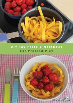 Create easy toy pasta and meatballs for pretend play (Papyrus Prop)DIY Toy Pasta and Meatballs for Pretend Play. I like the felt noodles, but not quite sure about the seed pod meatballs.I can make the noodles out of fly and put them in a diy plastic Diy Play Kitchen, Toy Kitchen, Play Kitchens, Pretend Kitchen, Open Kitchens, Kitchen Cabinets, Pretend Food, Pretend Play, Felt Play Food