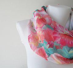 Floral Pattern Chiffon Infinity Scarf  by NaryasSewingCorner