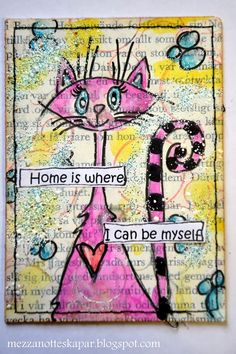 Mezzanotteskapar- Mixed Media made by Katja: ATC-cards Home, on old bookpages Mail Art, Whimsical Art, Art, Mixed Media Art Canvas, Card Art, Book Art, Art Trading Cards, Altered Art, Art Journal Pages
