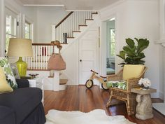 eclectic living room by Kate Jackson Design  The green lamp and the fig.  must have at MB