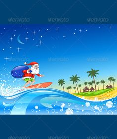 Christmas Santa on the Wave  - GraphicRiver Item for Sale