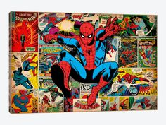 Marvel Comic Book Spider-Man on Spider-Man Covers and Panels by Marvel Comics 1-piece Canvas Print