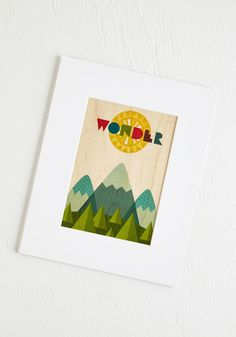 Inspire and Higher Print. Look to this scenic wooden print any time you crave a dose of merry motivation. Family Wall Decor, Cute Wall Decor, Iron Wall Decor, Vintage Decor, Retro Vintage, Woodland Room, Novelty Print, Modcloth, Home Gifts