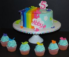cute rainbow and cloud cake