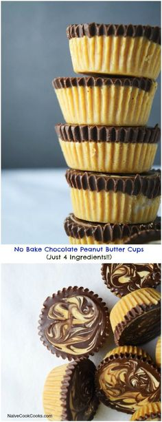 No Bake, Just 4 Ingredients Chocolate Peanut Butter Cups are easy back to school treats! Make them ahead & keep stored in refrigerator!