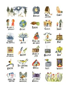 ABCs of Life Art Print Watercolor Alphabet Poster Peaceful