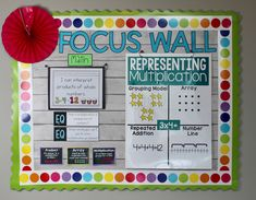 Here's an introducing multiplication focus wall that is perfect for third grade math! Classroom Data Wall, Math Wall, 5th Grade Classroom, Fourth Grade Math, Future Classroom, Classroom Themes, Reading Focus Walls, Math Focus Walls, Math Word Walls