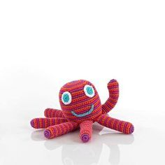 Fair Trade Pebble Octopus Rattle In Pink