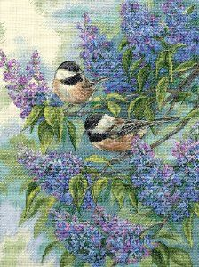Chickadees and lilacs - cross stitch