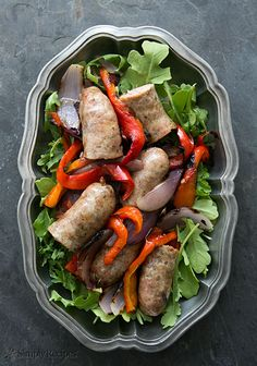 Grilled Italian Sausage with Peppers, Onions and Arugula Recipe | Simply Recipes
