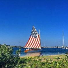 The perfect sail boat for the Fourth of July ( I Love America, God Bless America, Happy 4 Of July, Fourth Of July, Les Hamptons, A Lovely Journey, Sea To Shining Sea, Land Of The Free, Yachts