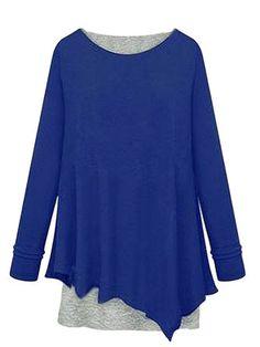 Asymmetrical Casual Two Piece Long Sleeve Round Neck Women T-Shirt