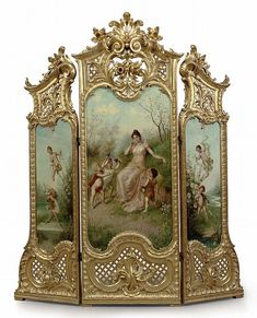 French Giltwood three-panel dressing screen >imagine having this in your bedroom? What a gorgeous piece of art! Victorian Furniture, Antique Furniture, Painted Furniture, Room Divider Screen, Room Screen, Room Dividers, French Antiques, Vintage Antiques, Dressing Screen
