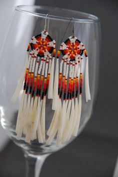 Southwest Flair  in Shells and Seed Bead Earrings by MambosMojo, #beadwork