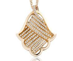 Khmissa Pendant- Pink gold, diamonds
