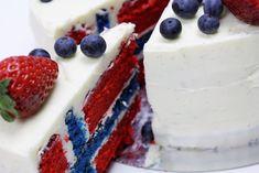 Flag cake ( Norsk Flaggkake / 17:e mai kake / Flaggtårta) | Dellie Delicious Norway Food, Flag Cake, Danish Food, Celebration Cakes, Cheesecake, Berries, Sweets, Fruit, Desserts