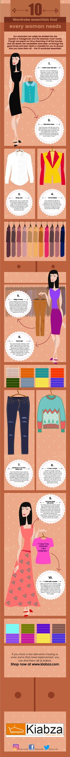 Our wardrobe can safely be divided into the luxuries or indulgences and the absolute must-haves. Though we spend our time dreaming of all the luxuries that we desire, the necessities have seen us through the good times and bad. here's a checklist for you to ensure that you have them all- the 10 wardrobe essentials!
