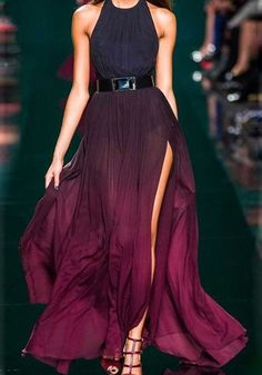 Purple Plain Pleated Irregular Round Neck Elegant Maxi Dress