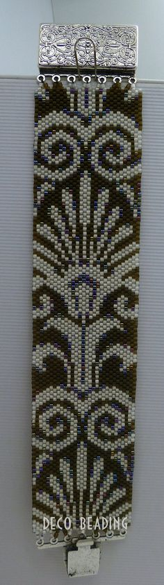 """This pattern is my Original Design, """"Shimmering Fans"""", which is done in Even count Peyote Stitch using Size 11 Delica beads. This pattern does not include instructions for learning Even count peyote, so it is intended for users who already know the stitch. The bracelet will be 1.59 x 7.6"""" when beaded with Size 11 Delica Beads. You can adjust the size to be smaller, by just stopping when you reach your desired length. The bracelet in my photo is 6 3/4. The PDF Pattern includes: • Bead leg..."""