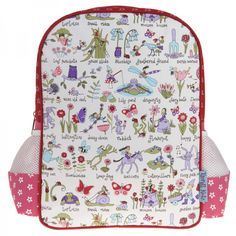 A lovely back pack for girls, covered in all things you'd love to see in a secret garden