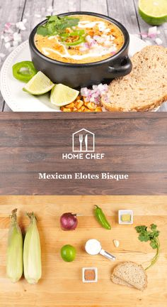 Mexican Elotes Bisque With Lime Crema and Warm Granary Bread Chef Recipes, Mexican Food Recipes, Soup Recipes, Healthy Recipes, Hello Fresh Recipes, Diet Dinner Recipes, Appetizer Salads, Appetizers, Slow Cooker Soup