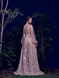 Hamda AlFahim Fall Winter 2016 Nude Tulle Fully Embroidered Dress with Bell Sleeves - Back View