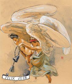 Angel Bells, Male Nude Figure Drawing Fine Art gay christmas card