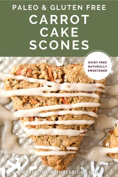 Paleo Carrot Cake Scones are easy to make and so delicious! All the flavors of carrot cake packed in a handheld dip-able treat. Gluten free, dairy free and naturally sweetened. #scones #paleoscones #paleo #healthy #easyrecipe #dairyfree | realfoodwithjessica.com @realfoodwithjessica