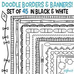 Doodle fronteras, conjunto de 45 fronteras, Banners de Doodle, Doodle de Clip Art, descargar de aula, profesores Clip Art, Clip Art Frame, aula imágenes prediseñadas