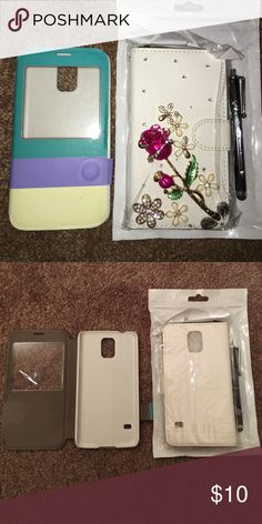 (2) Samsung GALAXY S5 Phone Cases 📱 (2) SAMSUNG GALAXY S5 Phone Cases‼️‼️‼️ The white/cream one is BRAND 🆕 NEVER opened! Still in package. With stylus‼️ the other is used but practically still brand new! 👍🏾👌🏾 Accessories Phone Cases