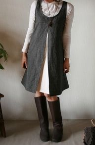 open-front linen pinafore