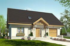 Projekt domu Julia III z garażem 1-st. [A] 92,6 m2 - koszt budowy 175 tys. zł - EXTRADOM Modern Industrial, New Homes, Mansions, House Styles, Outdoor Decor, Home Decor, Projects, House, Decoration Home