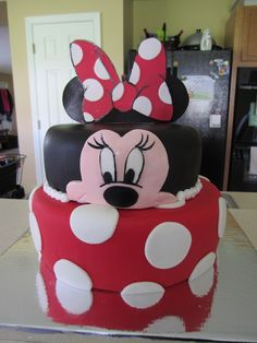cute cakes for 12 year olds | Cake for a three year old girl who loves Minnie Mouse! Cake covered in ...