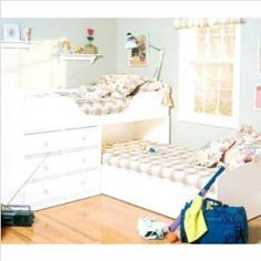 L-shaped bunk bed for low ceiling room.
