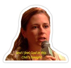 """""""God in this Chili's"""" Stickers by catherinekinman The Office Stickers, Cool Stickers, Laptop Stickers, I Am Beyonce Always, Kelly Kapoor, Soccer Jokes, The Office Show, Office Wallpaper, Office Memes"""