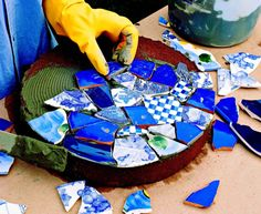 How to Make Mosaic Garden Projects | Midwest Living -- Very Neat! Excellent idea for all the broken porcelain we keep digging up around our land!
