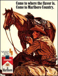 1967 Vintage Ad Marlboro Cigarettes, Marlboro Man Illustration Wall Art 10x13 #Marlboro